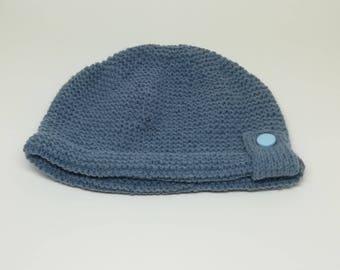 Blue jean baby Beanie / / Hat handmade knit
