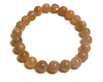 Bracelet nude / peach / beige Sun stone beads round, size: standard, classic, Bohemian, boho, spring summer 2018
