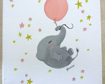 small Elephant canvas flies in the stars