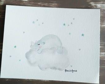 Original rhinoceros illustration is sleeping on cloud