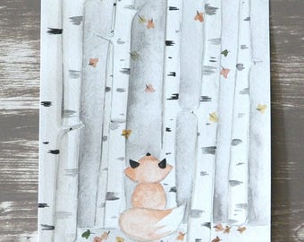 Original watercolor Fox in forest illustration