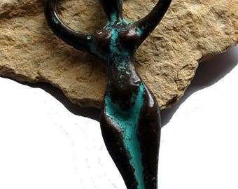 """Ceramic antique bronze pendant """"status of women"""""""