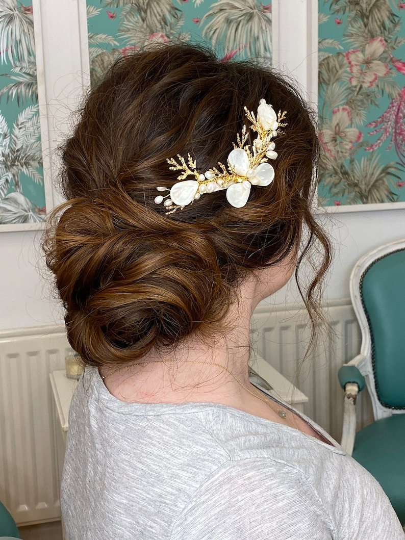 Ursula Freshwater Pearl Bridal Hairpiece Comb Gold Coral Boho