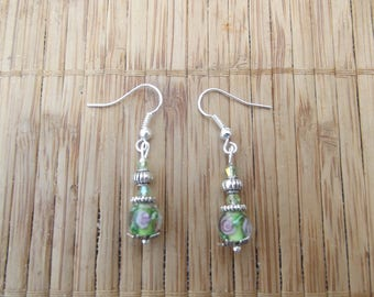 Green earrings swarovski Pearl, handmade.
