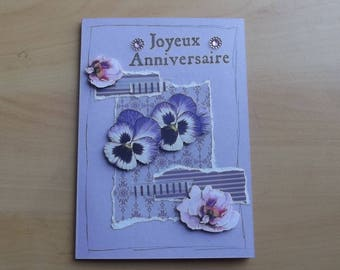 """Happy birthday"" card, purple."