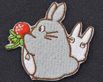Shield patch embroidered applique cotton fusible totoro