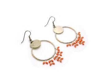 Dream catcher earrings - orange-creole