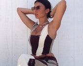 Neutral patchwork denim corset top reworked - Brown Cream