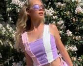 Pastel patchwork denim corset top reworked - Pink Purple