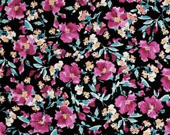 Retro Linear Palm Leaf Cotton Spandex Blend Knit Fabric