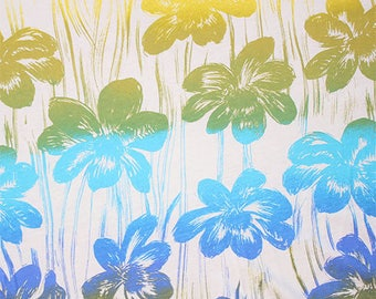 Gradient Tropical Floral Cotton Jersey Knit Fabric **UK Seller**