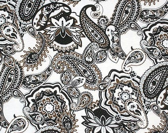 Giselle Paisley Floral Cotton Jersey Knit Fabric **UK Seller**