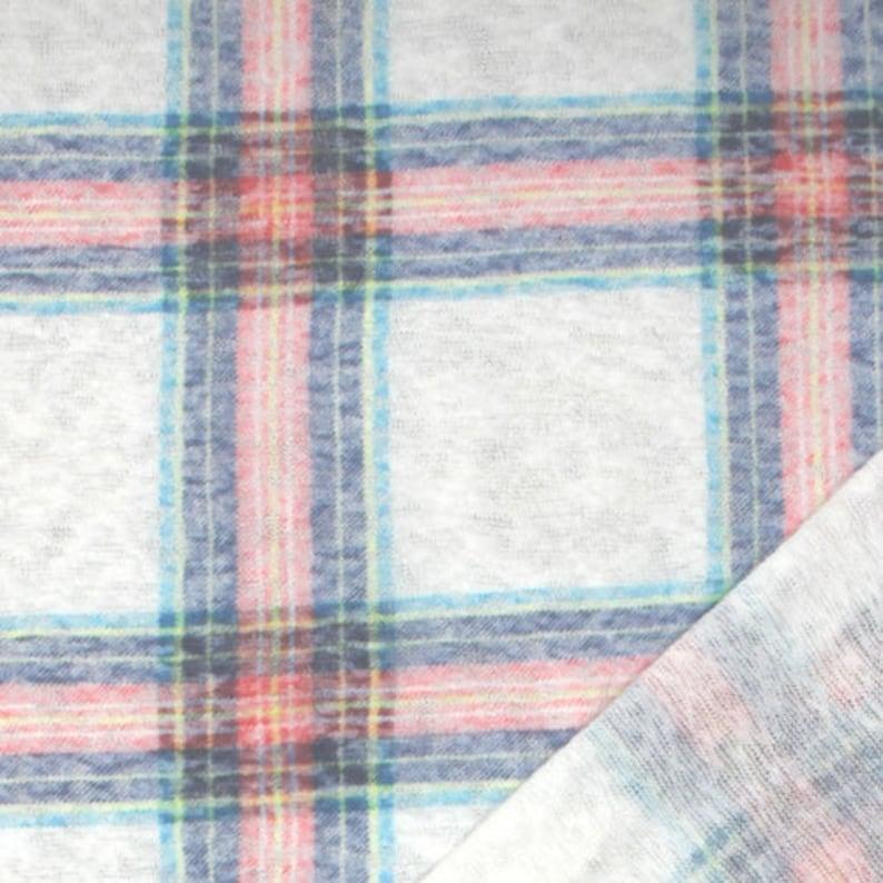 c99ca1087bc Pink Blue Plaid Reverse Slub Jersey Sweatshirt Fleece Knit   Etsy