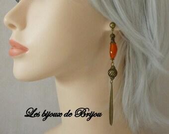 Long and elegant orange and bronze earrings