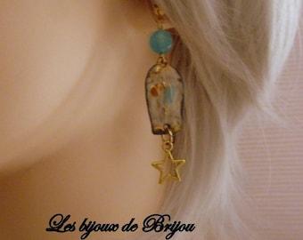 Romantic earrings in enamelled metal, blue and gold