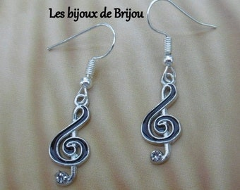 Floor key - Elegant earrings in the shape of silver and black floor key with a rhinestone