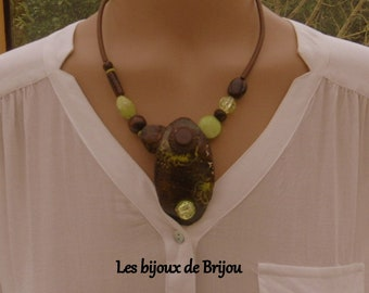 Asymmetrical necklace, pendant, polymer paste, glass beads, button, anise green, brown