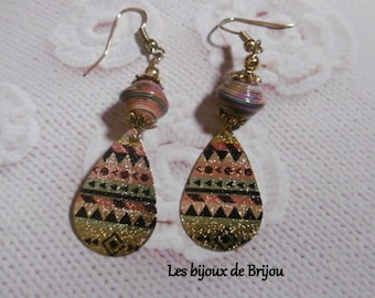 Earrings, paper beads, gold metal, painted metal, red, blue, black