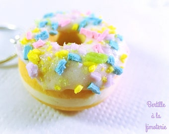 Rainbow donuts necklace, handmade necklace, polymer clay necklace, donut pendant, food necklace, miniature food necklace, cute charms