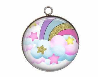 Pendant cabochon resin 20 or 25 mm Rainbow