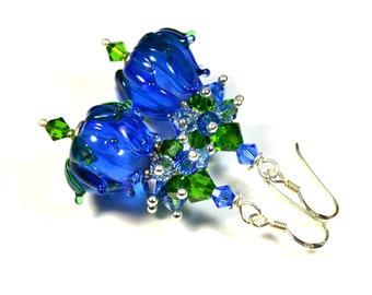 Blue floral buds earrings, Murano lampwork art glass beads, OOAK