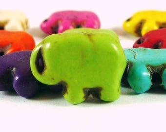 5 Green howlite elephant beads Apple, 10x14mm (PH50)