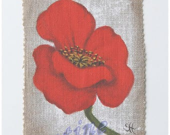 Painting on canvas 'poppy' Special customisation textile medium for creating original