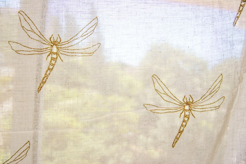 shabby chic French manufacturing Syle valance pattern dragonflies Fabric sheer cotton sheer coupon ticking butter Bunting