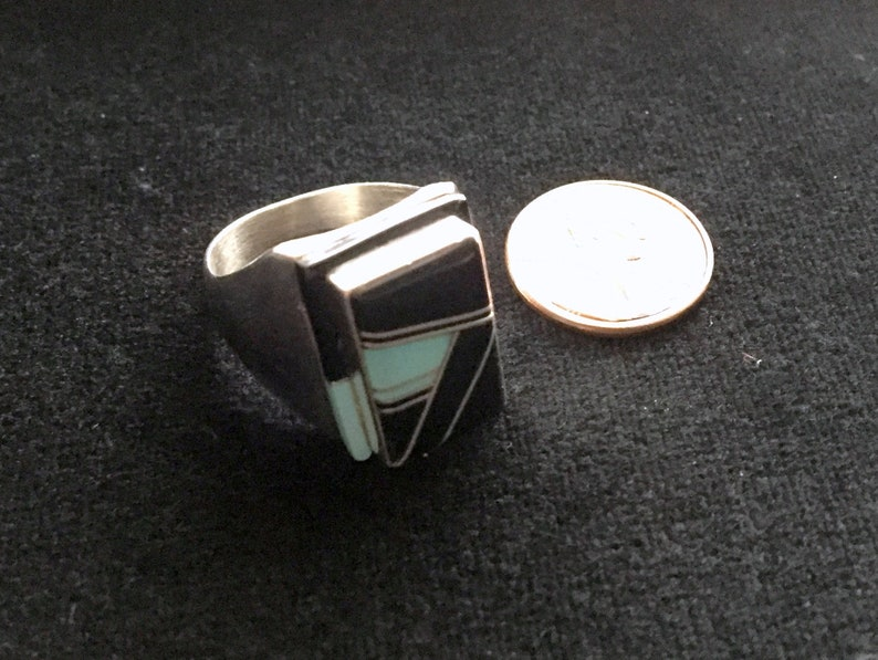 Size 12 Item # 817-2 Vintage South West Style Sterling Silver OnyxTurquoise Inlay Ring