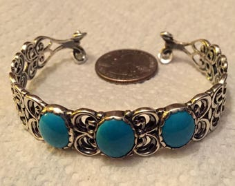 Changing Seasons Sterling /Turquoise Cuff Bracelet by Carolyn Pollack