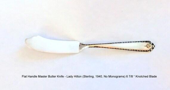 """Kirk Rose Butter Spreader Flat Handle /""""B/"""" Monogrammed Sterling Silver Flatware"""