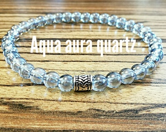Healing Crystal Bracelet Iridescent Bracelet Blue Bracelet Aqua Mystic Aura Quartz Bracelet Aura Quartz Bracelet Mermaid Bracelet
