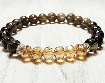 smoky quartz bracelet for women healing crystals bracelet czech crystal bracelet womens protection stone jewelry gift for women yellow