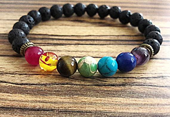 7 chakra bracelet men women rainbow bracelet protection stone bracelet balance healing stones jewelry lava bead chakra bracelet yoga gift
