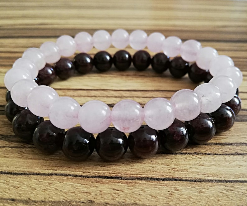 rose quartz /& garnet stone bracelet women beaded bracelet set stretch gemstone root heart chakra yoga jewelry mala