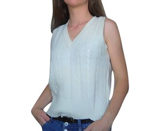 101d13bcfd458 90s Spaghetti Straps Knitted Top Medium Sleeveless Knit