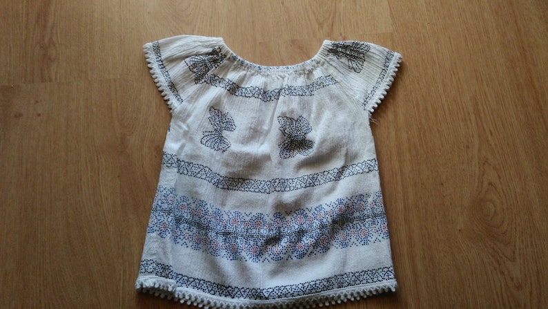 Off The Shoulder Top Butterfly Top Girls Loose Fit Top Kids Short Sleeve Top Mexican Elastic Neck Blouse Summer Top with Dotted Print