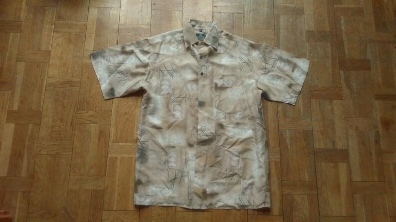 PURE SILK SHIRT 90s Men/'s Shirt Silk Mens Shirt Abstract Print Festival Shirt Brown Small Shirt Short Sleeved Shirt Patchwork Shirt
