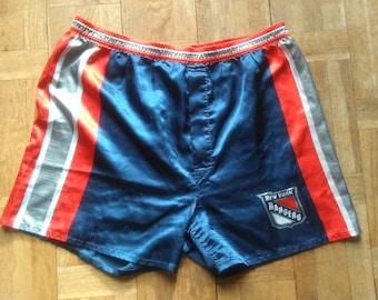 90s New York Rangers, Size Small, Shorts, Blue Satin Trunks, Hockey, Athletic Wears, NHL Shorts, Underwear, NHL Leage, Satin Boxers