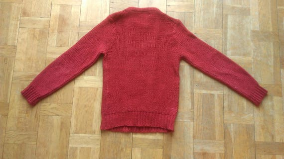 70s Sweater Red Womens Knit Knit Knitwear Small Size Minimalist Flower Jumper Sweater Floral Burgundy Cable Sweater Sweater rx1qTrwp