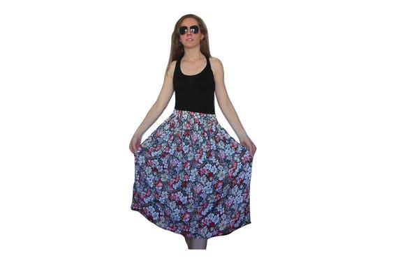 Floral Skirt Midi, Pleated Midi Skirt, Highwaisted