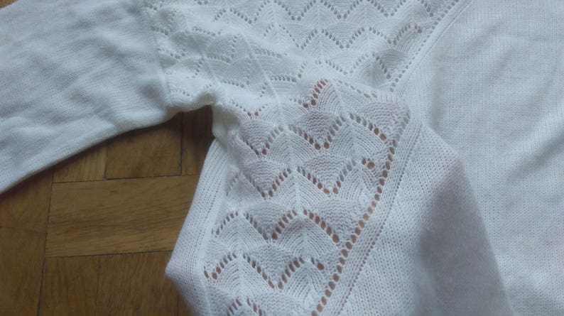 Punctured Sweater Knitted Crewneck Comfy Jumper Fishnet Sweater Snow White Pullover White Lace Crochet Sweater Small Sweater Women