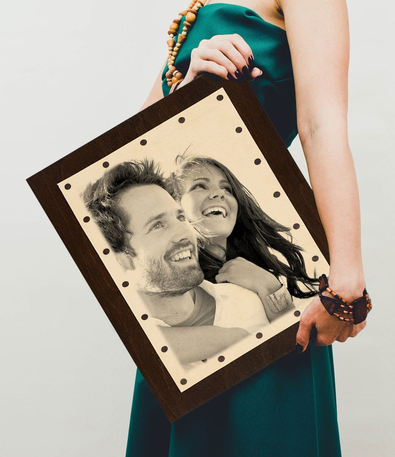 Leather Anniversary 3rd Anniversary Gift For Men Leather photo third anniversary for her engraved with any photo your wedding photo