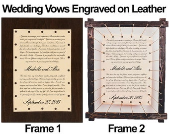 Wedding Vow Keepsake - Engraved Your Wedding Vows on Real Leather a Wonderful Personalized Gift