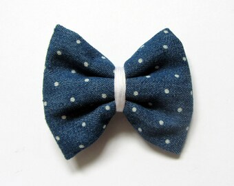 Hair clip bow blue jeans with polka dots