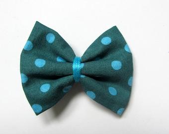 Hair clip bow teal polka dot