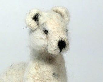 Felted Hermine, Wool Sculpture, Felting