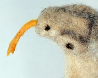 Felted cobra, wool sculpture, dry felting