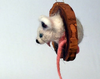 Felted siren, wool sculpture, dry felting