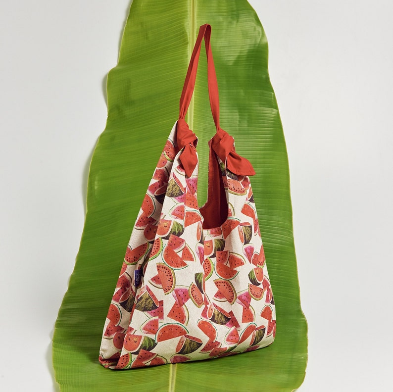 Watermelon Tote Bag with adjustable strap and inside Zipper Pocket